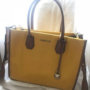 NWT Michael Kors Yellow Canvas Mercer tote